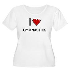 I Love Gymnastics Digital Retro Plus Size T-Shirt