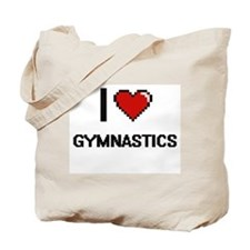 I Love Gymnastics Digital Retro Design Tote Bag