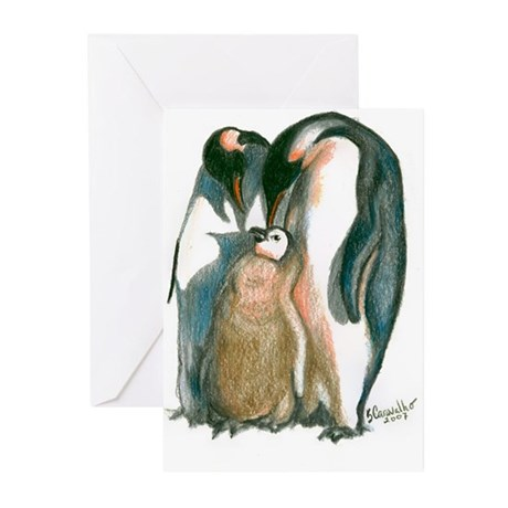 Baby Makes 3 Penguins Greeting Cards (Pk of 10)
