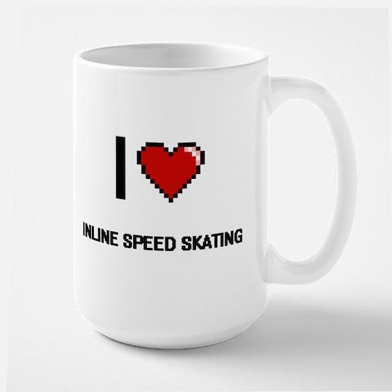 I Love Inline Speed Skating Digital Retro Des Mugs