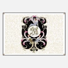 Monogram Letter M Barbier Cabaret Banner