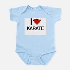 I Love Karate Digital Retro Design Body Suit