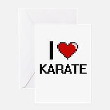 I Love Karate Digital Retro Design Greeting Cards