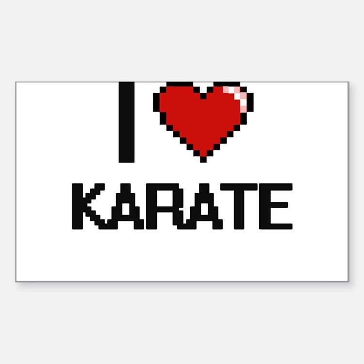 I Love Karate Digital Retro Design Decal