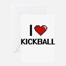 I Love Kickball Digital Retro Desig Greeting Cards