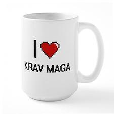 I Love Krav Maga Digital Retro Design Mugs