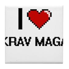 I Love Krav Maga Digital Retro Design Tile Coaster