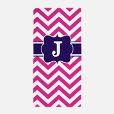 Pink Navy Chevron Monogram Beach Towel
