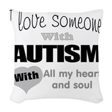 Love and autism Woven Throw Pillow