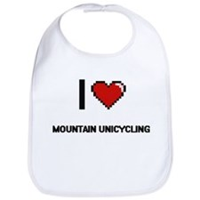 I Love Mountain Unicycling Digital Retro Desig Bib