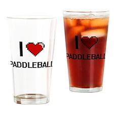 I Love Paddleball Digital Retro Des Drinking Glass