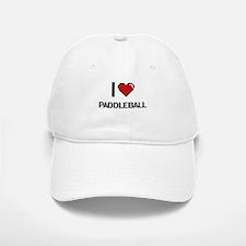 I Love Paddleball Digital Retro Design Baseball Baseball Cap