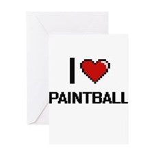 I Love Paintball Digital Retro Desi Greeting Cards