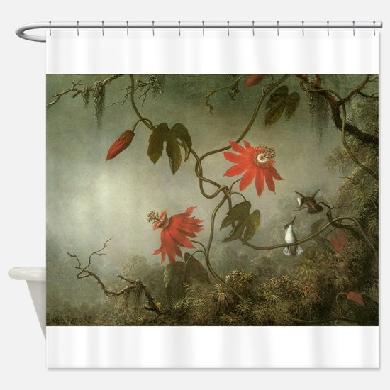 Passion Flowers and Hummingbirds by Shower Curtain