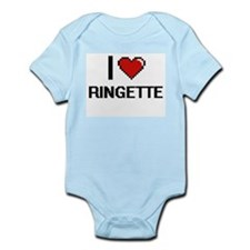 I Love Ringette Digital Retro Design Body Suit