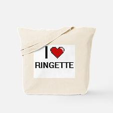 I Love Ringette Digital Retro Design Tote Bag