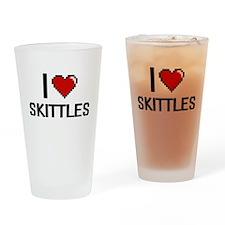 I Love Skittles Digital Retro Desig Drinking Glass