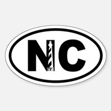 North Carolina Inset Lighthouse Oval Decal
