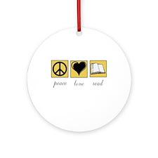 Peace Love Read Ornament (Round)