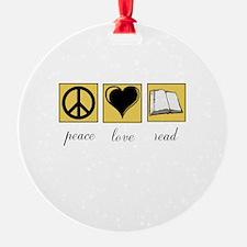 Peace Love Read Ornament