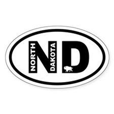 North Dakota Inset Bison Oval Decal