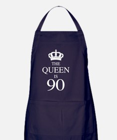 The Queen Is 90 Apron (dark)