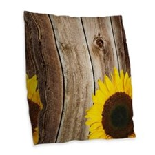 Rustic Barn Wood Sunflower Burlap Throw Pillow