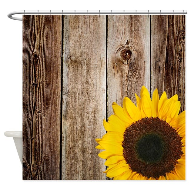 - Rustic Barn Wood Sunflower Shower Curtain By Printcreekstudio
