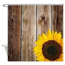 Rustic Barn Wood Sunflower Shower Curtain