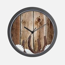 Rustic Barn Wood Horseshoes Wall Clock
