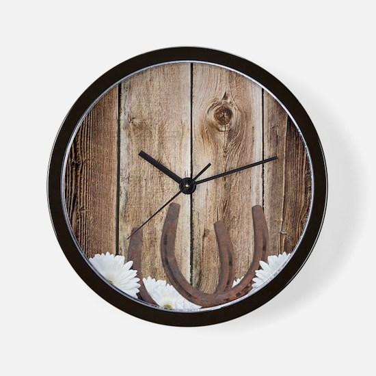 Rustic Barn Wood Horseshoes Wall Clock