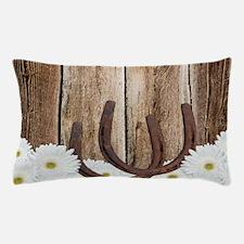 Rustic Barn Wood Horseshoes Pillow Case