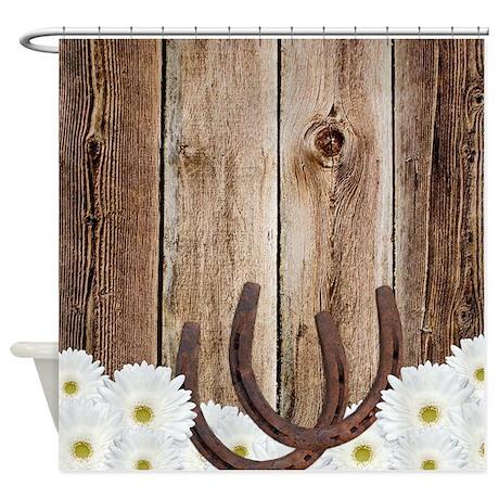 Rustic Barn Wood Horseshoes Shower Curtain By Printcreekstudio