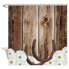 Rustic Barn Wood Horseshoes Shower Curtain