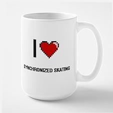 I Love Synchronized Skating Digital Retro Des Mugs