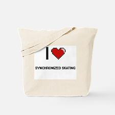 I Love Synchronized Skating Digital Retro Tote Bag