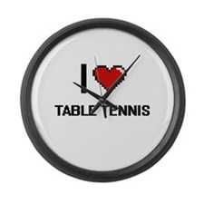 I Love Table Tennis Digital Retro Large Wall Clock