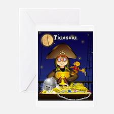 Pirate and Treasure Greeting Card