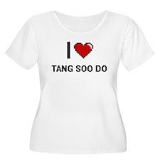 I Love Tang Soo Do Digital Retro Plus Size T-Shirt