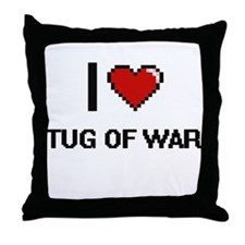 I Love Tug Of War Digital Retro Desig Throw Pillow