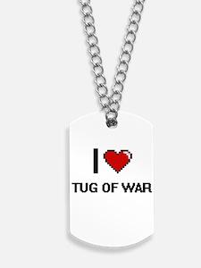 I Love Tug Of War Digital Retro Design Dog Tags