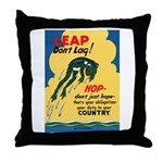 Leap Don't Lag Frog Throw Pillow