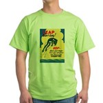 Leap Don't Lag Frog (Front) Green T-Shirt