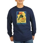 Leap Don't Lag Frog (Front) Long Sleeve Dark T-Shi