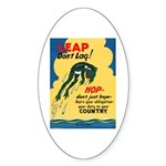Leap Don't Lag Frog Oval Sticker