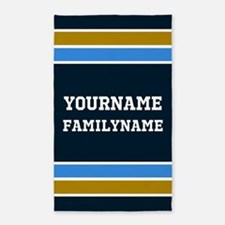 Navy Blue Gold Sports Jersey Stripes Cust Area Rug