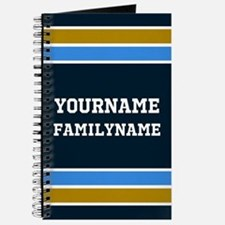 Navy Blue Gold Sports Jersey Stripes Custo Journal