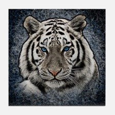 Cute White tiger Tile Coaster
