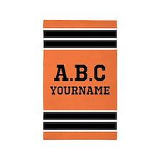 Orange and Black Sports Jersey Stripes Cu Area Rug