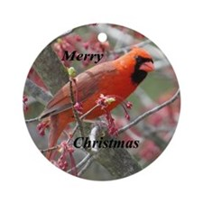 Flower Cardinal Ornament (Round)